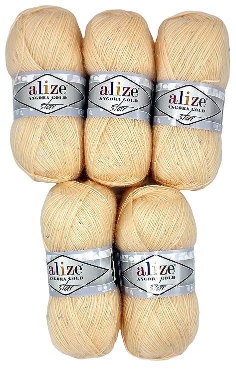 500 Gramos 5 ovillos de Lana de 100 g de Alize con Mohair y Lentejuelas para Punto y Ganchillo