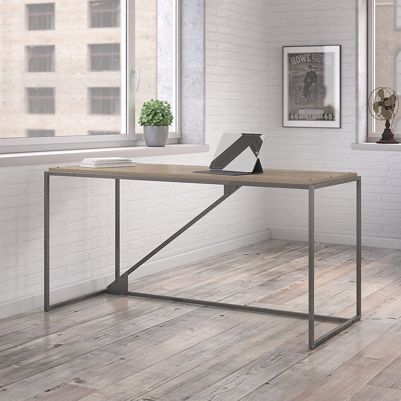 Bush Furniture Refinery 62W Industrial Desk in Rustic Gray
