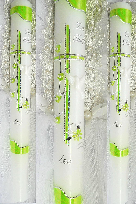 Taufkerze Kommunionkerze Junge Mädchen 400/50 mm T-779 inkl. Beschriftung kerzenzauber-lusine