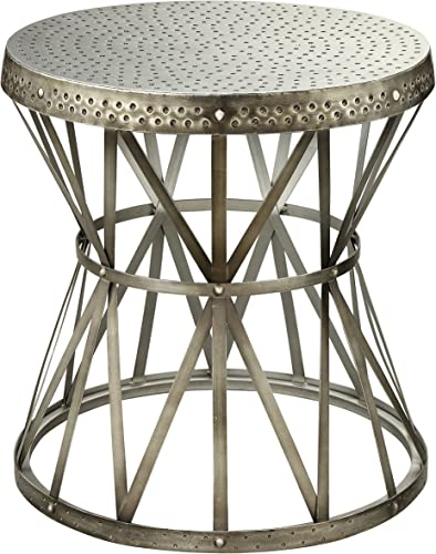 Treasure Trove Accents Round Table, Hammered Nickel Finish