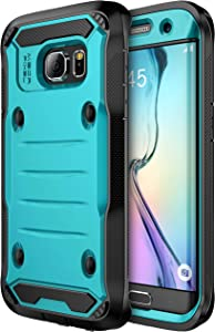E LV Case for Galaxy S7 Edge Case Armor Protection Defender (Without Built-in Screen Protector) Case for Samsung Galaxy S7 Edge - [Turquoise/Black]