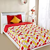 Amazon Brand - Solimo Arendale Microfibre Printed Quilt Blanket, Single, 120 GSM, Yellow and Red