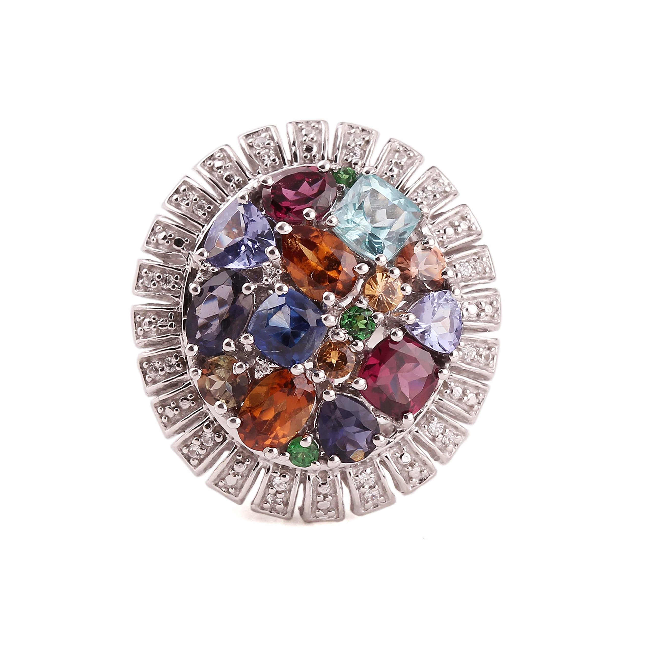 Neerupam collection 925 sterling silver natural gemstone studded silver ring for women and girls