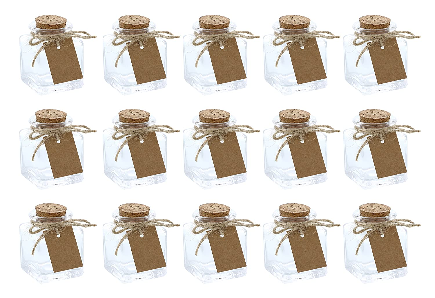 Clear Glass Bottles with Cork Lids- 15-Pack of Mini Transparent Squared Jars with Stoppers for Vintage Wedding Decoration, DIY, Home, Party Favors, 1.7-Ounce Juvale