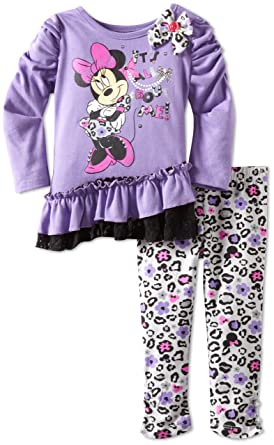 b6c420c161d08 Amazon.com: Disney Baby Girls' 2 Piece Minnie Mouse Animal Print Legging  Set: Infant And Toddler Pants Clothing Sets: Clothing