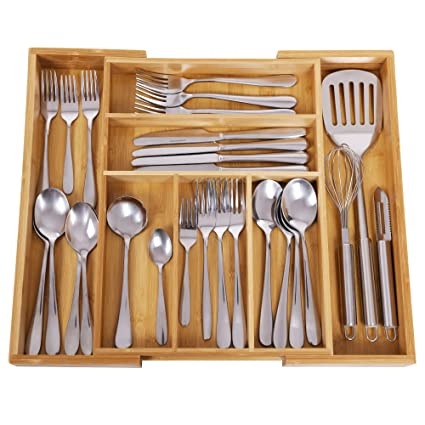 songmics bamboo cutlery tray expandable utensil organizer flatware drawer dividers kitchen storage organizer ukab801 - Kitchen Utensil Organizer