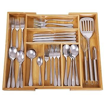 SONGMICS Bamboo Cutlery Tray Expandable Utensil Organizer Flatware Drawer  Dividers Kitchen Storage Organizer UKAB801