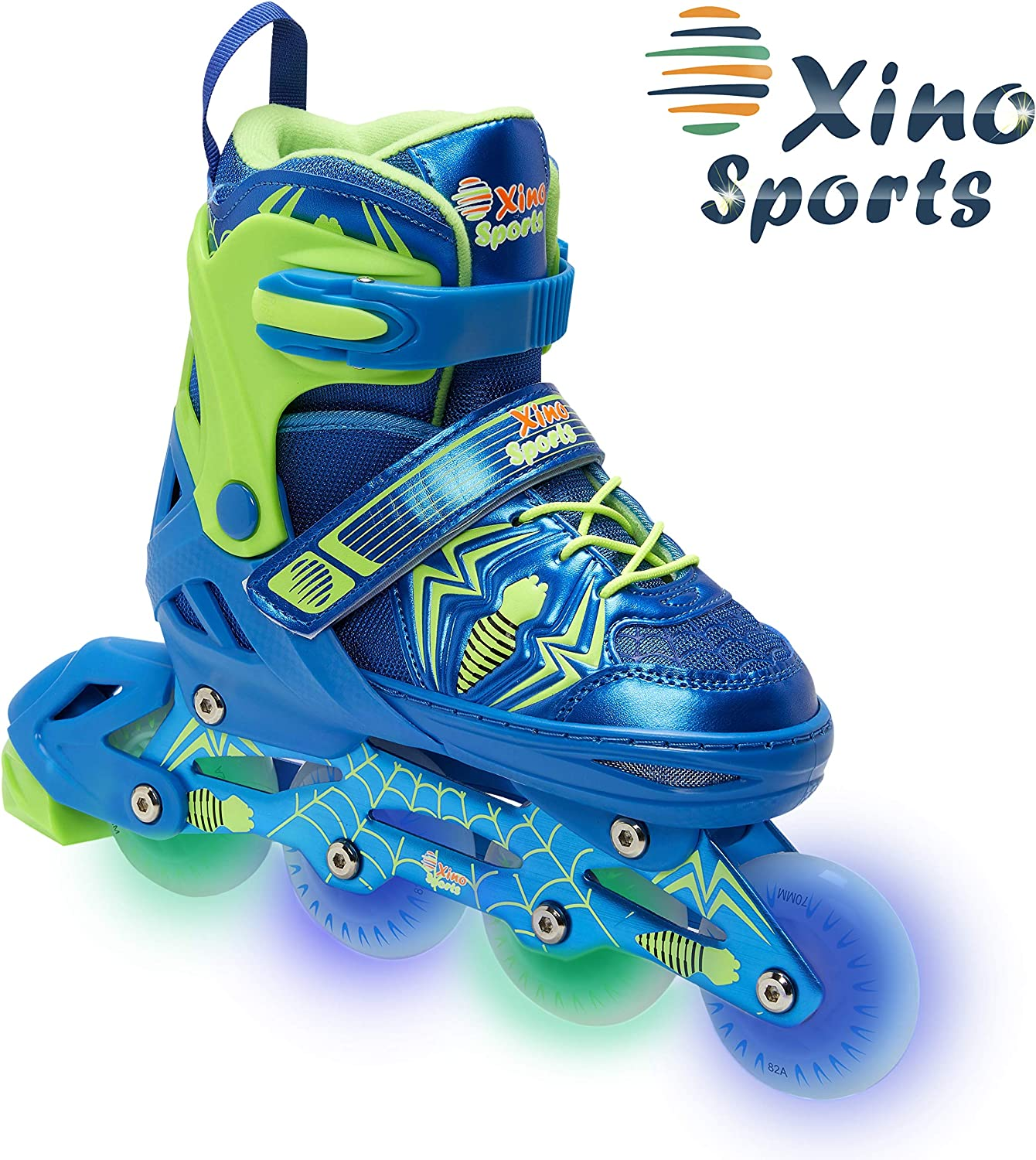 Xino Sports Adjustable Inline Roller Skates – for Growing Girls and Boys, Featuring Illuminating LED Wheels, 1 Year Warranty and a Life Time Support