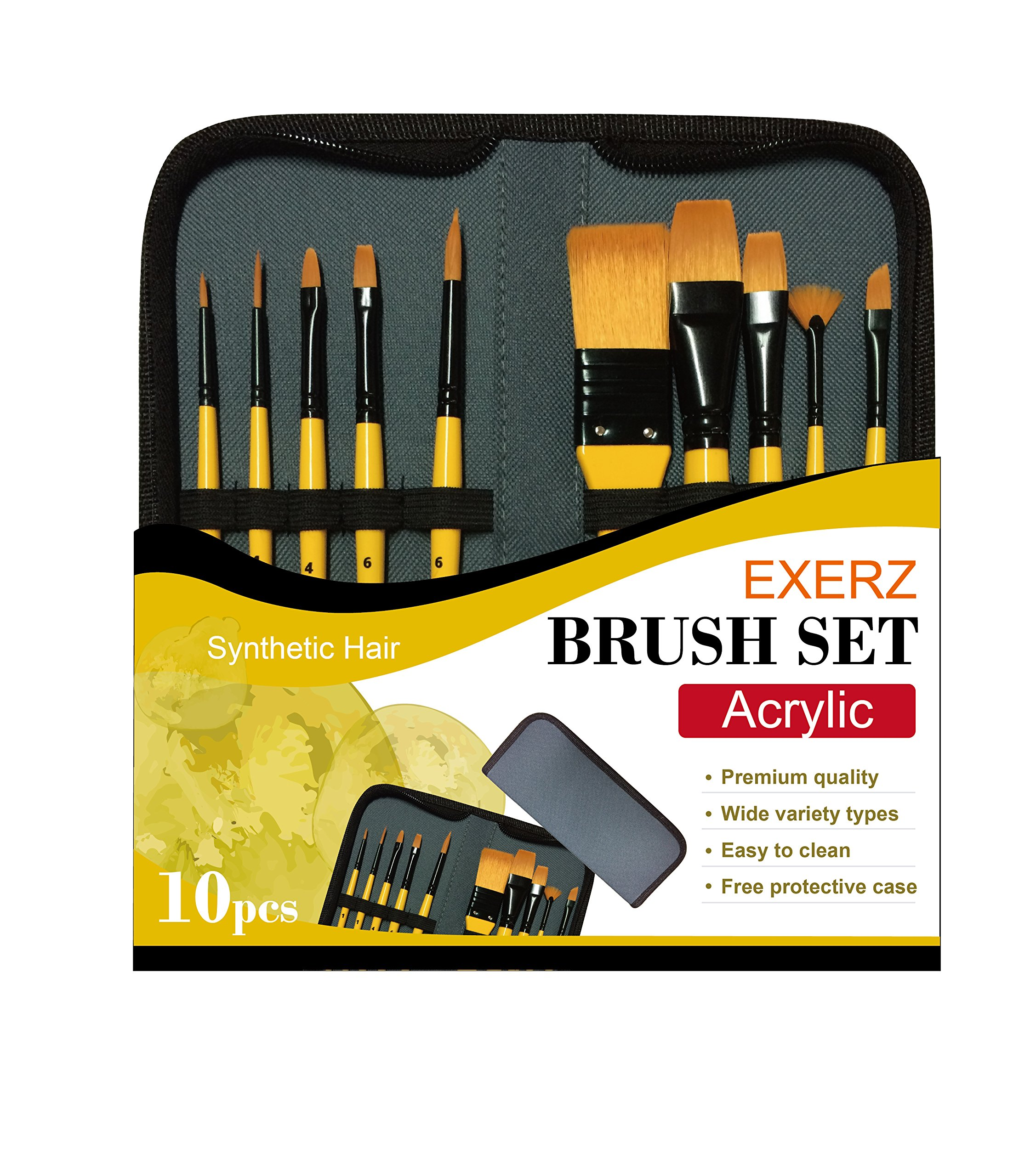 Artify 2020 New 10 Pcs Paint Brush Set Includes a Carrying Case Perfect for Acrylic Oil Watercolor and Gouache Painting