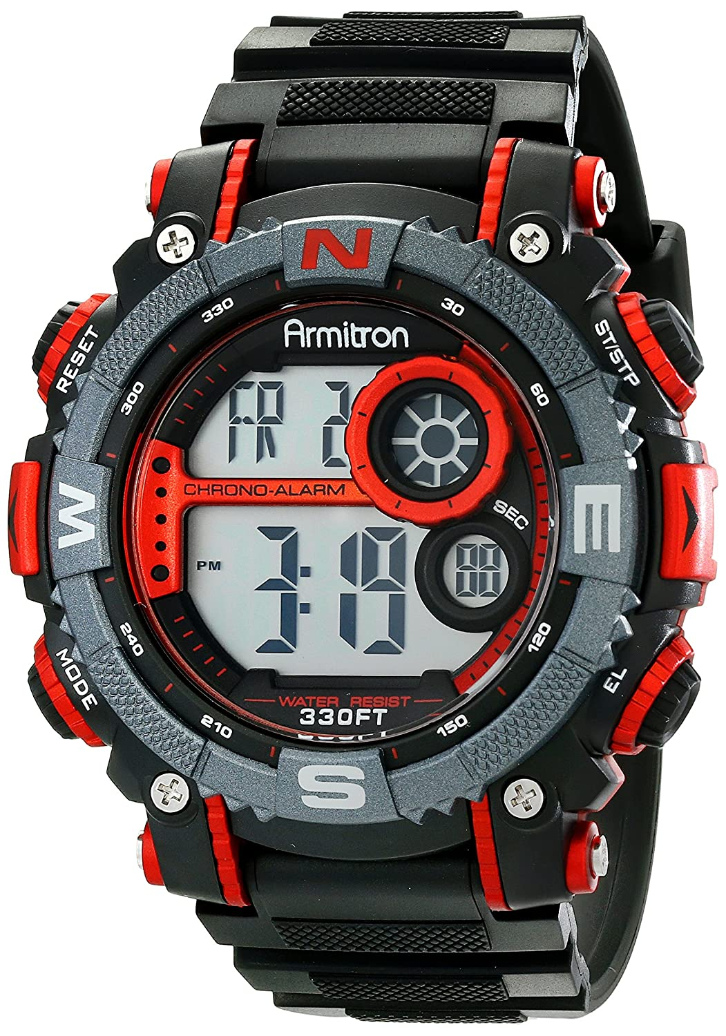 Armitron sport mens 408284red large metallic red accented black armitron sport mens 408284red large metallic red accented black resin strap chronograph digital watch amazon watches fandeluxe Gallery