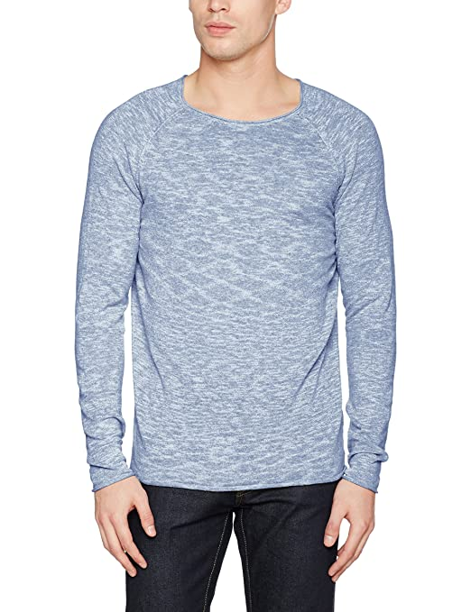 Shnclash Linen Crew Neck, Suéter para Hombre, Gris (Shadow Detail:Twisted with Egret), X-Large Selected