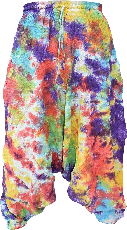 Pantalones De Algodon Ligero Para Hombres Multicolor Marble Tie Dye M Genio Haren Little Kathmandu Aladino Pantalones Estilo Ninja Hombre Pantalones