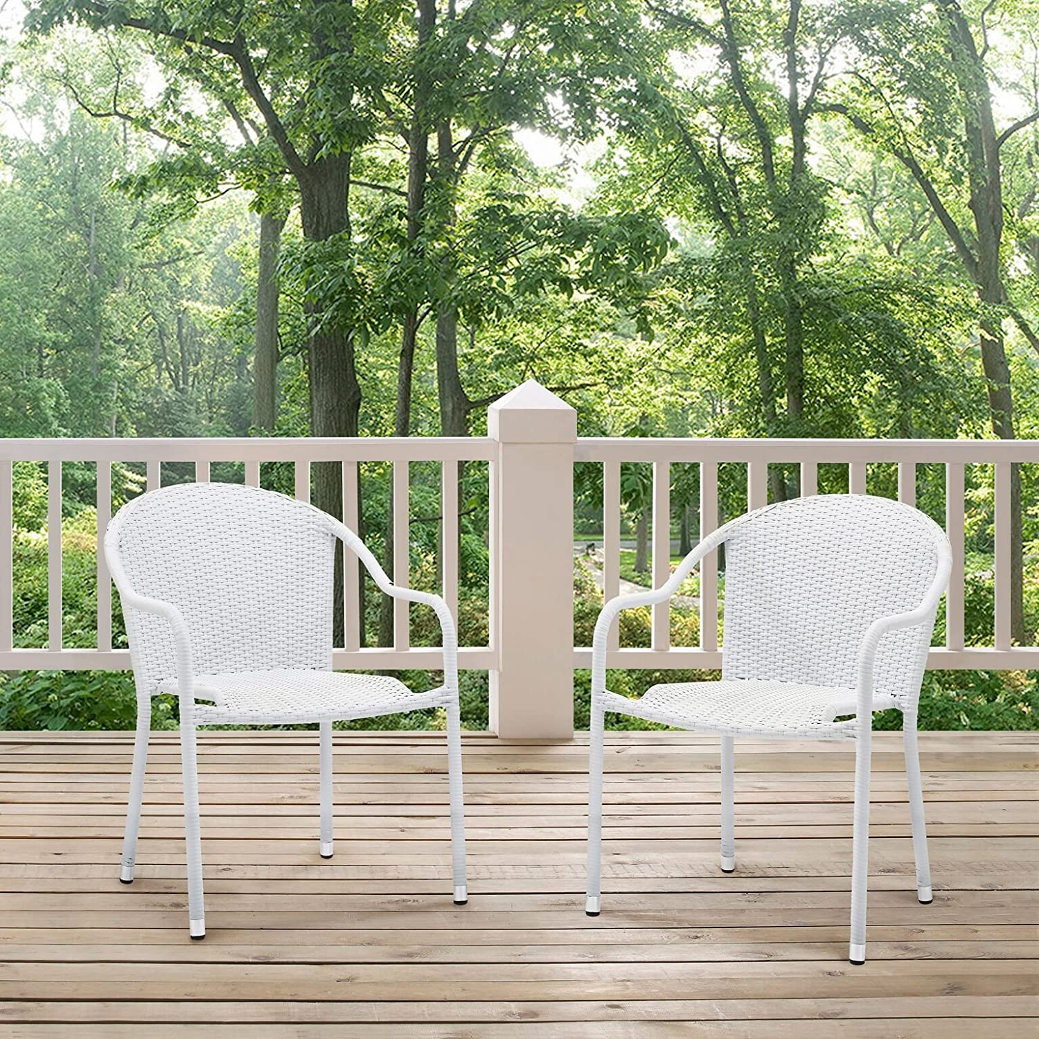 Green Set of 2 Crosley Furniture Palm Harbor Outdoor Wicker Stackable Chairs