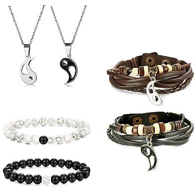 Besteel Conjunto Collar y Pulsera para Hombre Mujer Pareja Yin Yang Colgante Collar Acero Inoxidable Pulsera Cuero Piedra Brazalete Cadena 56CM ...