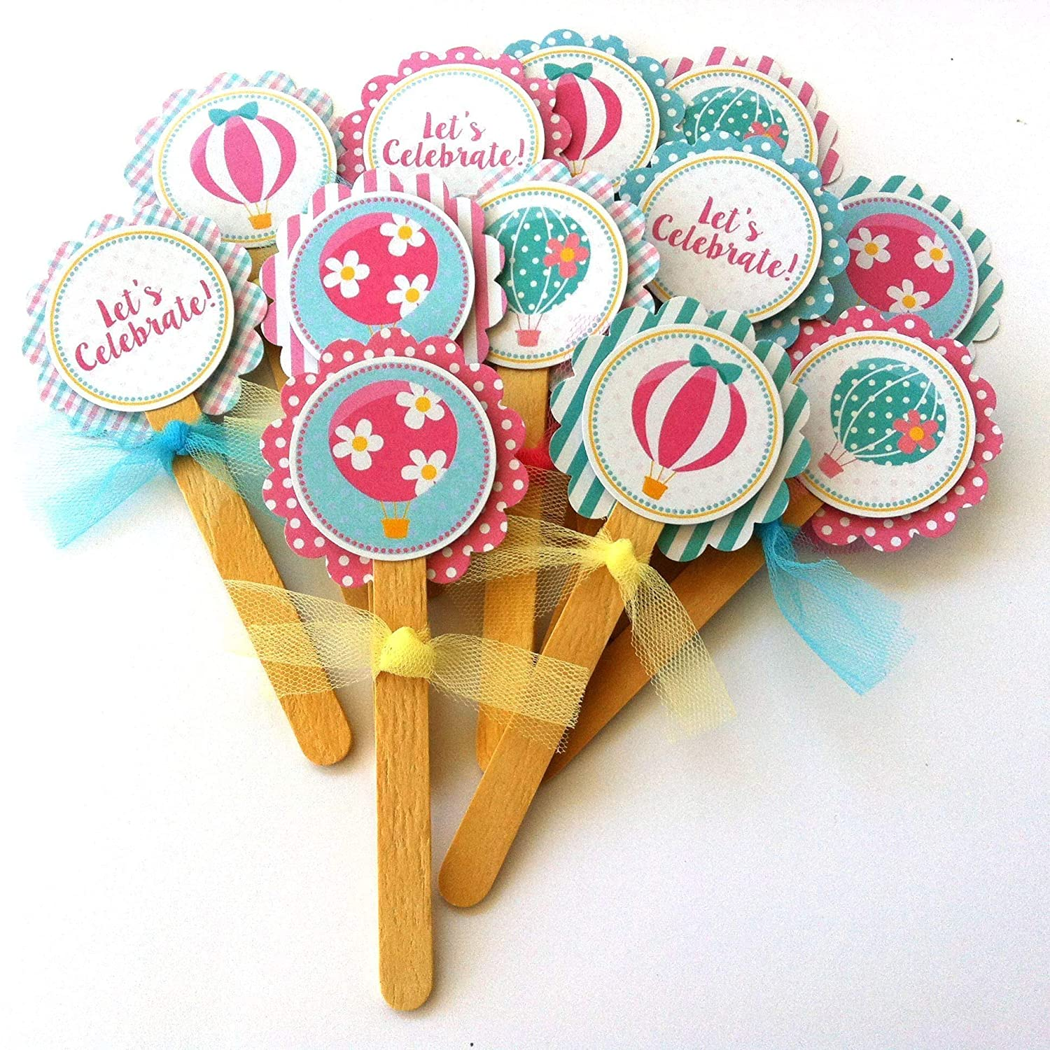 Girl Birthday Baby Shower Party Supplies Set of 12 Hot Air Balloon Party Cupcake Toppers