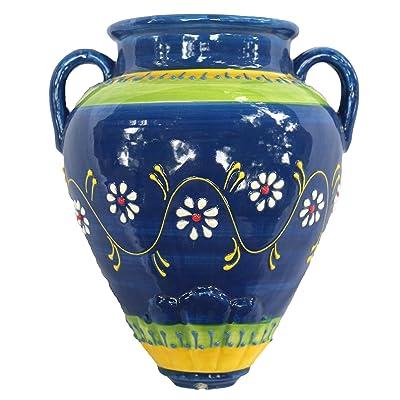 Cactus Canyon Ceramics Spanish Hand-Painted Wall Tinaja Flower Pot, Cielo Azul: Home & Kitchen