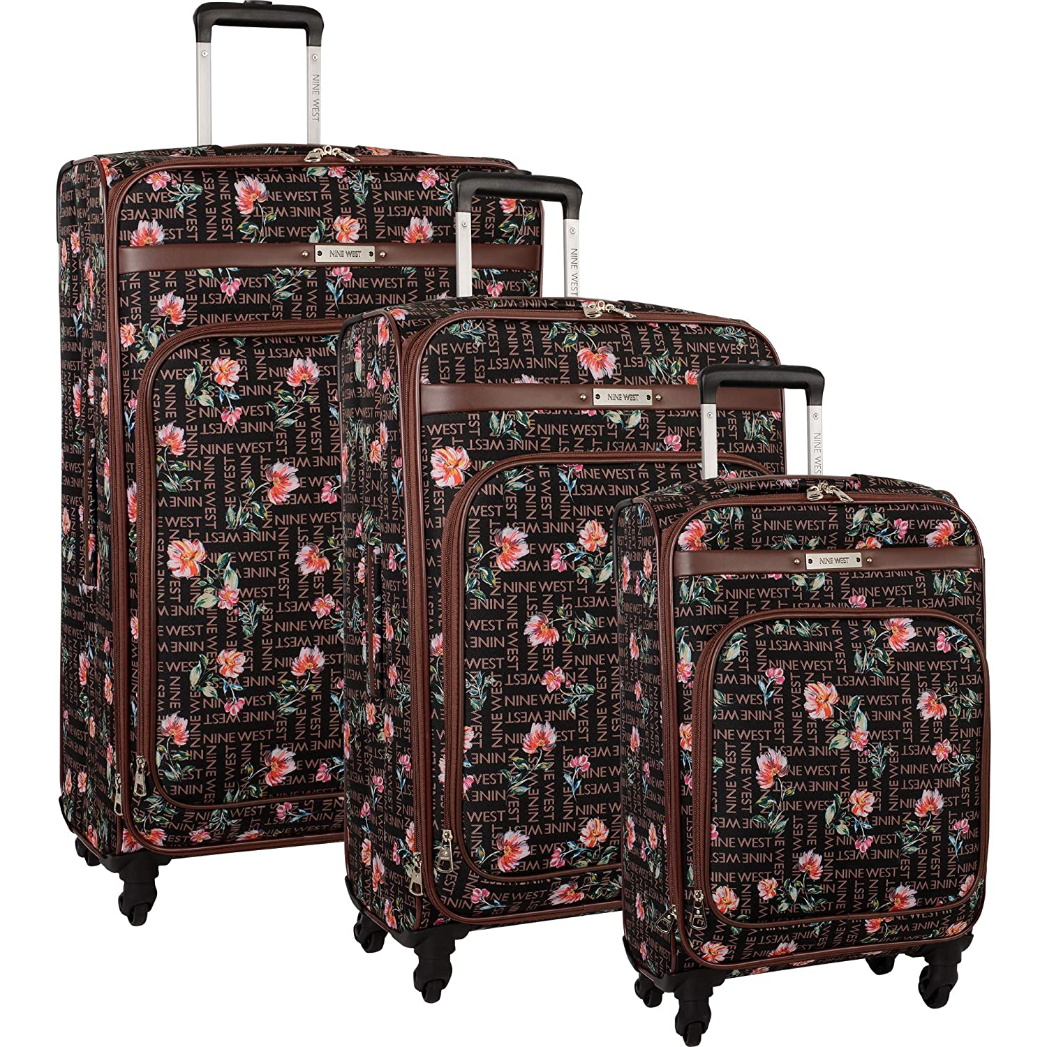 Image of Nine West 3 Piece Lightweight Spinner Luggage Suitcase Set, Brushstroke Bloom Luggage