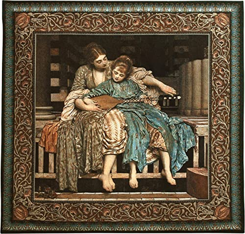 The Music Lesson by Lord Frederic Leighton Woven Tapestry Wall Art Hanging Historic 19th Century Lifelike Scene Classic 100 Cotton USA Size 53×50