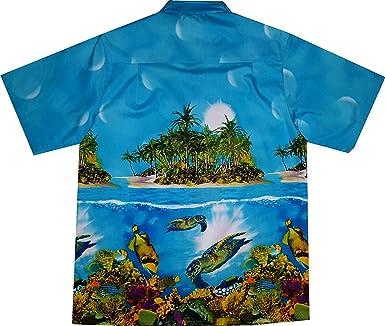 """Camisa Hawaiana/Hawaii Hombre """"paraíso de Las Tortugas"""" / 100% algodón/tamaño M – 6XL / Turquesa: Amazon.es: Ropa y accesorios"""