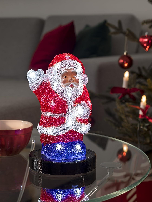 20 kalt wei/ße Dioden mit USB Anschluss 6271-203 Konstsmide Innen batteriebetrieben LED Acryl Weihnachtsmann
