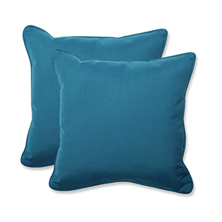 Pillow Perfect Indoor Outdoor 18.5-inch Throw Pillow Set of 2 with Sunbrella Spectrum Peacock Fabric, 18.5 in. L X 18.5 in. W X 5 in. D