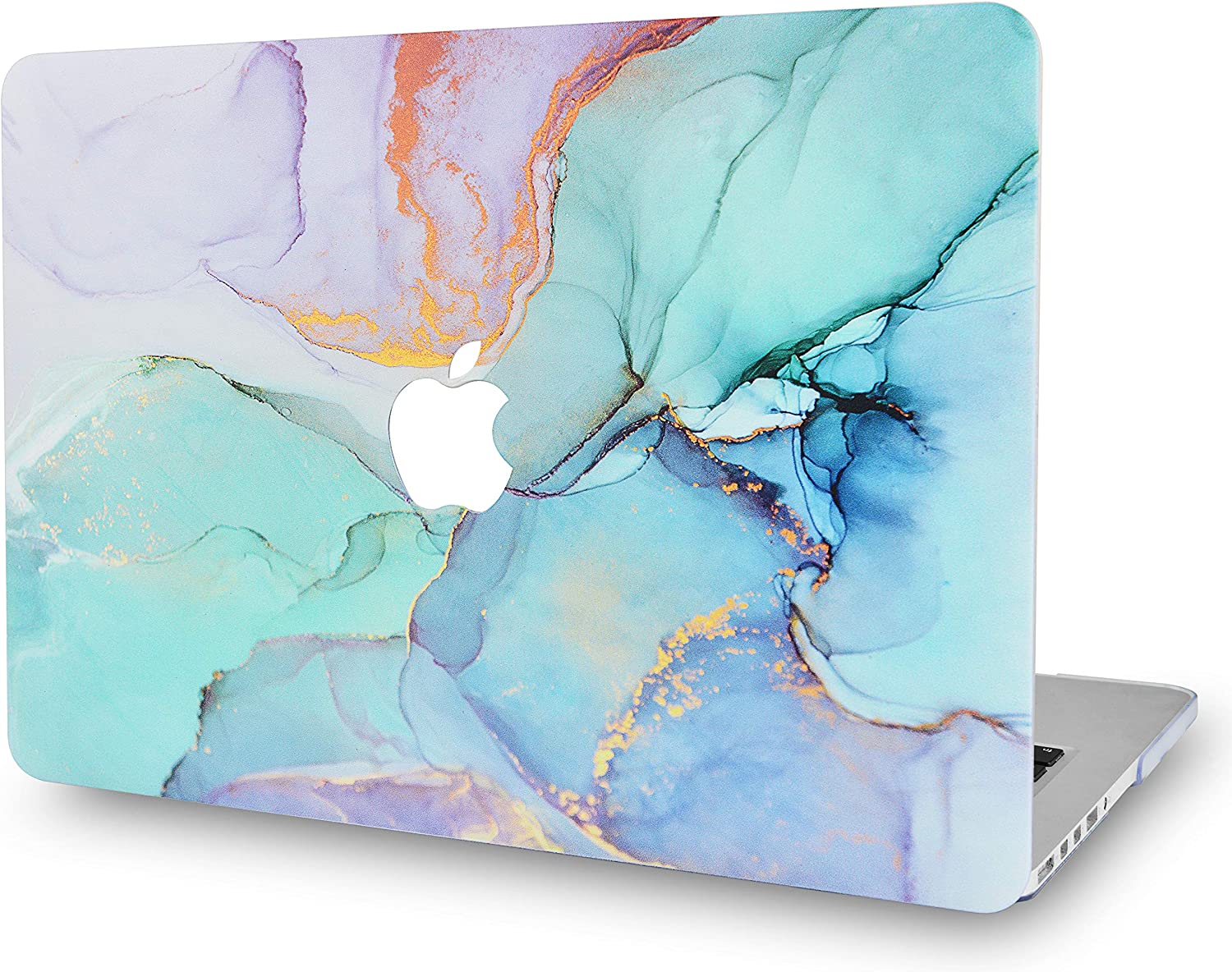 LuvCaseLaptopCaseforMacBookAir 13 Inch A1466 / A1369 (No Touch ID)RubberizedPlasticHardShellCover (Teal Marble)