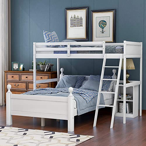 Merax Wood Loft Bed Twin Over Full Loft Bed