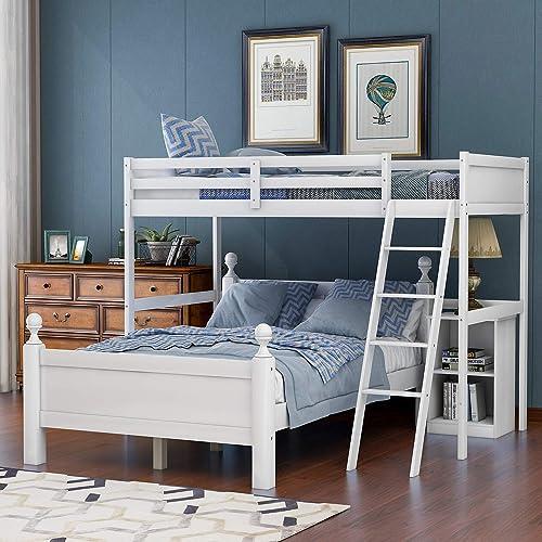 Merax Wood Loft Bed Twin Over Full Loft Bed