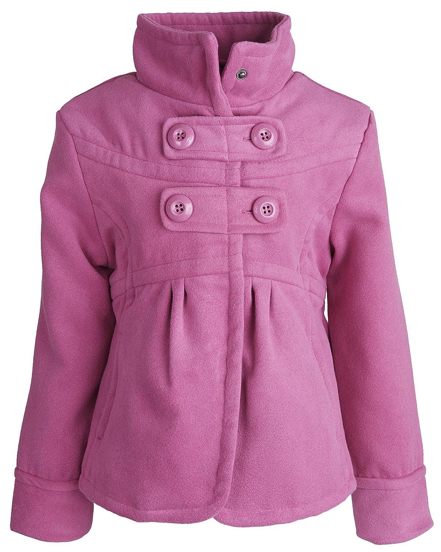 dollhouse Little Girls Waisted Dressy Wool Look Winter Pea Coat with Ruffles