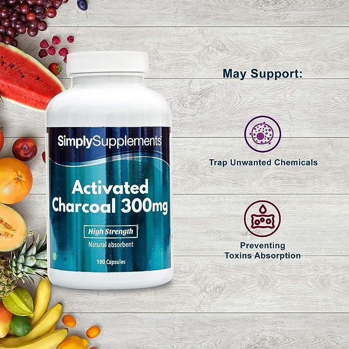 Cárbon activado 300mg - ¡Bote para 3 meses! - Apto para veganos - 180 comprimidos - simplySupplements: Amazon.es: Salud y cuidado personal