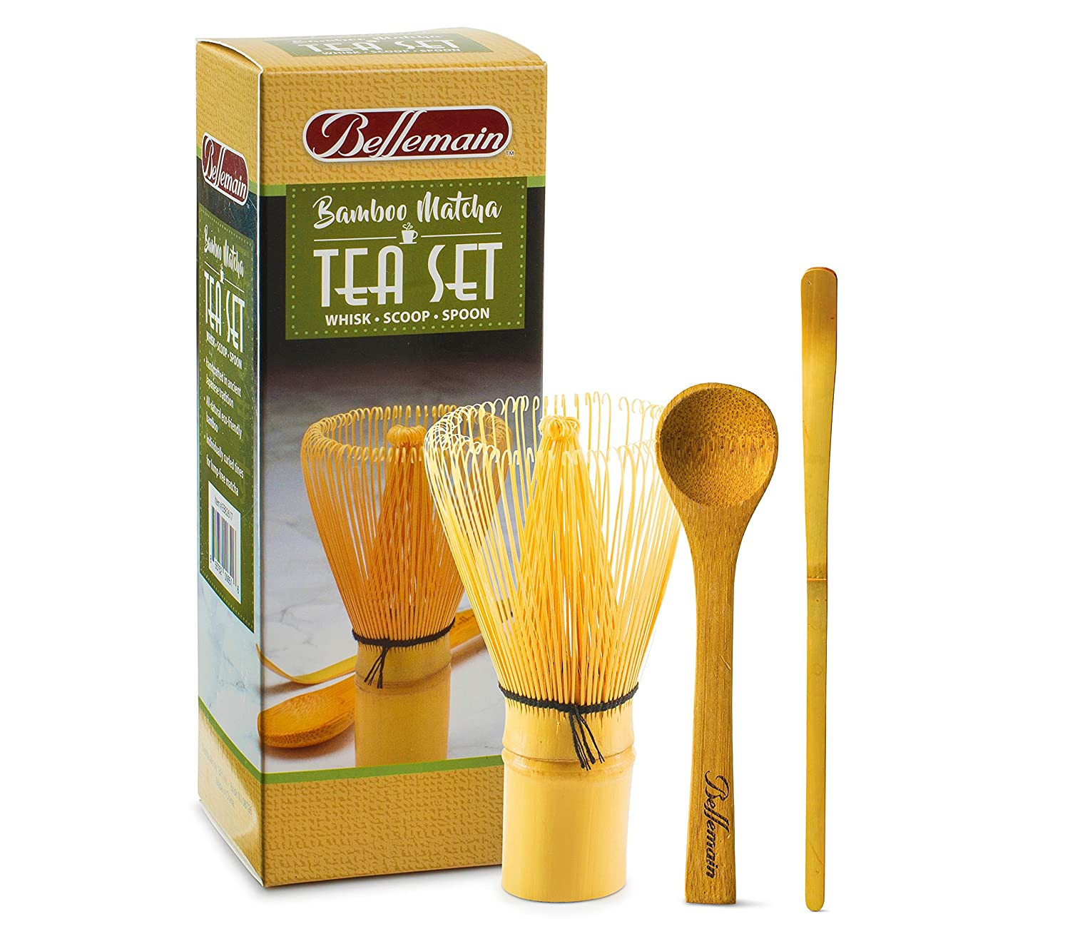 Bellemain 3-Piece Bamboo Matcha Tea Set Includes Whisk (Chasen), Scoop and Teaspoon EPI TRTAZ11A