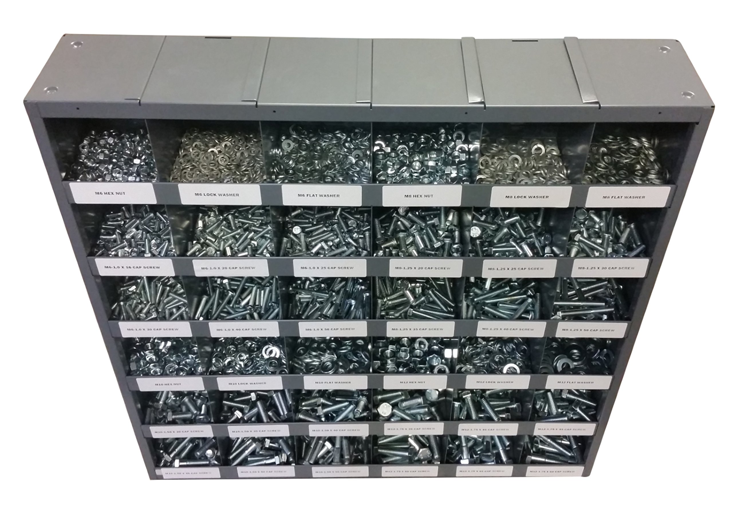 2830 Piece Metric Thread Bolt (Hex Head Cap Screw), Nut, and Washer Assortment with 36 Hole Bin