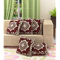 """Luxury Crafts Floral 5 Piece Chenille Cushion Cover Set - 16"""" x 16"""", (Maroon)"""
