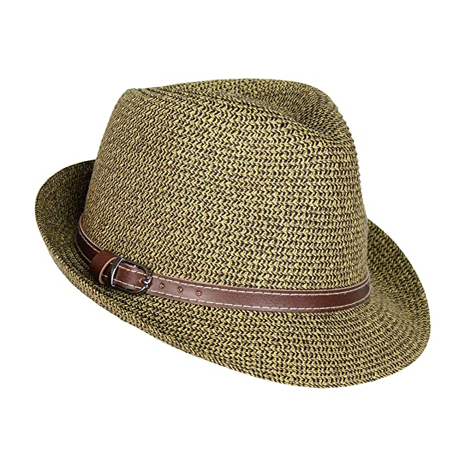 4d78647eb Straw Panama Hat, Tweed Fesitival Fedora with Faux Leather Hatband, Packable