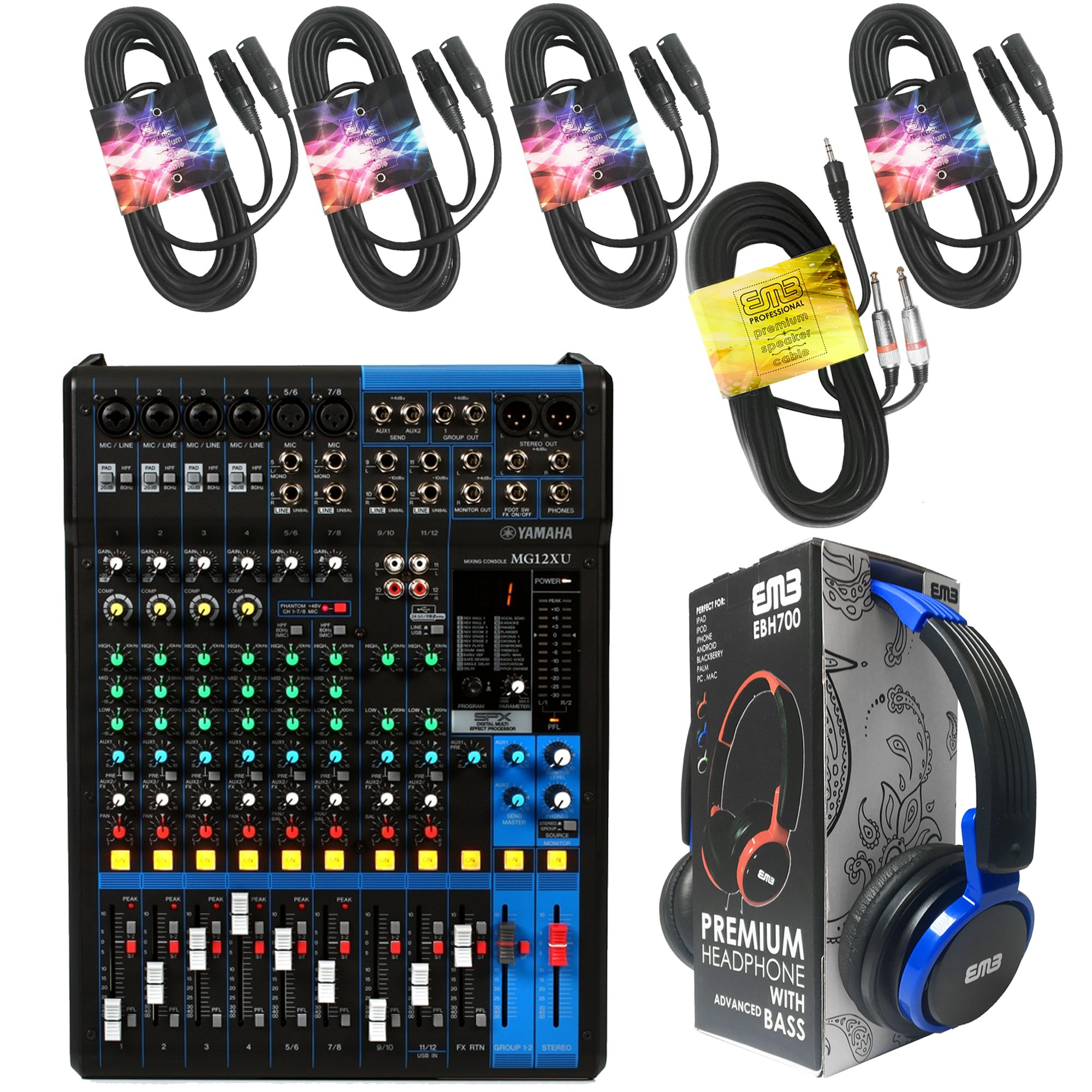 Yamaha Package Bundle - Yamaha MG12XU 12-channel Analog Mixer + EMB EBH700 Pro Preminum Wire Headphone + 4 XLR XLarge Cables + 3.5mm to Dual 1/4'' Cable