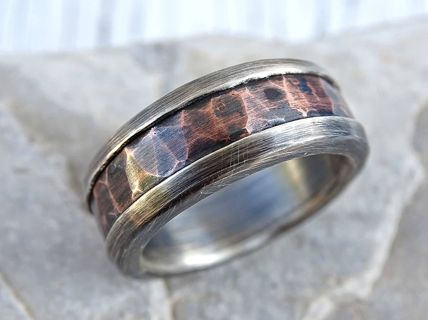 Unique rustic ring Seamless hand forged by blacksmith Hand hammered copper ring Wide band men/'s ring Oxidized copper ring