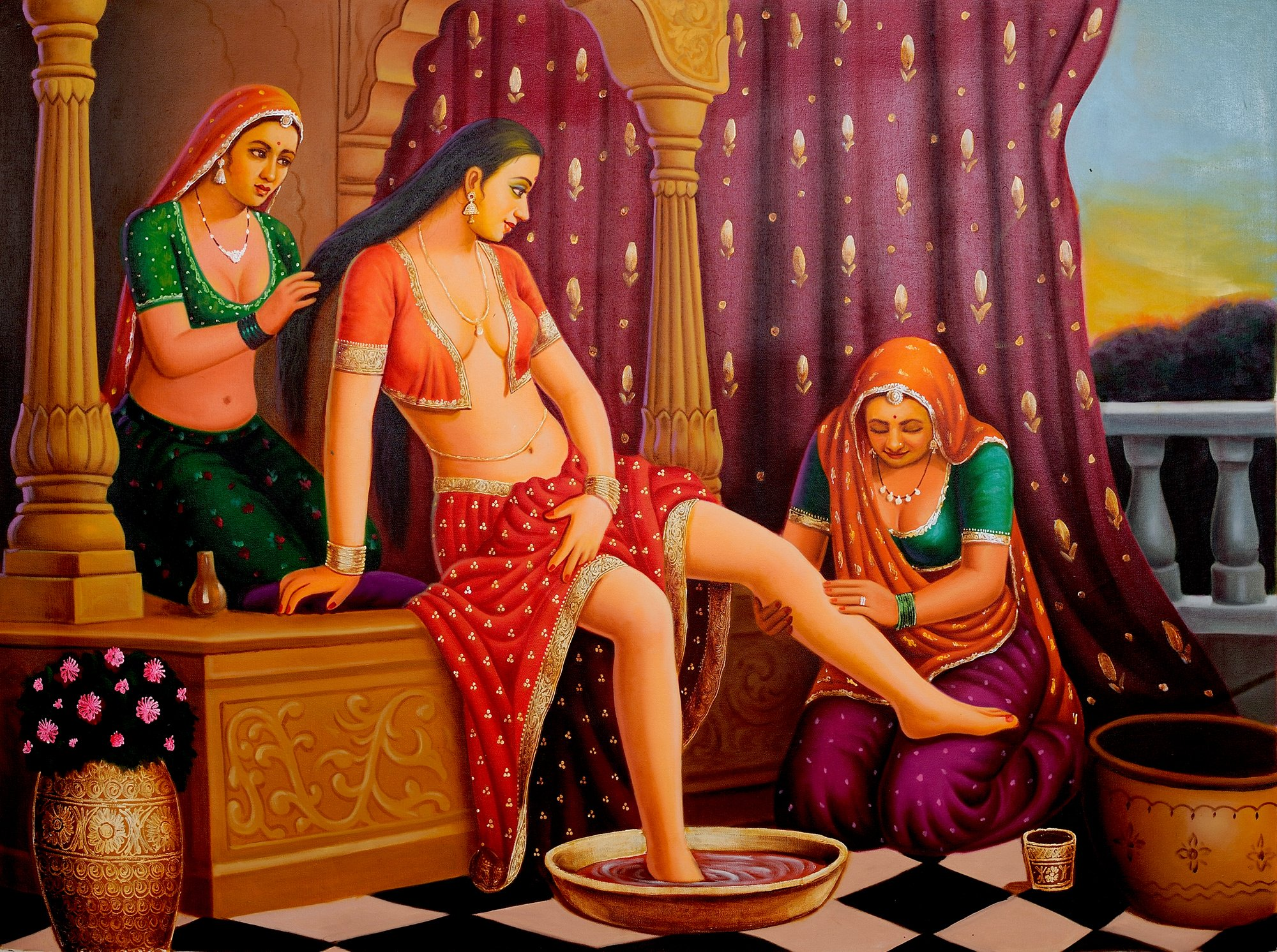 Royal Lady Gets a Bath - Oil on Canvas - Artist: Anup Gomay