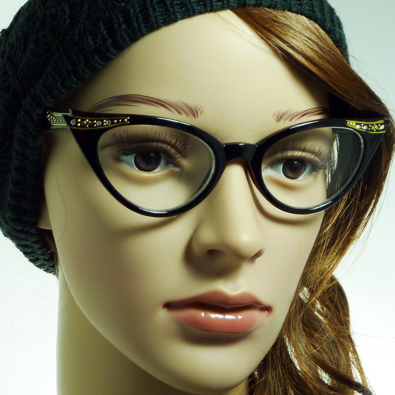 VINTAGE Rhinestone Women Cat Style Frame Clear Lens Eye Glasses TORTOISE