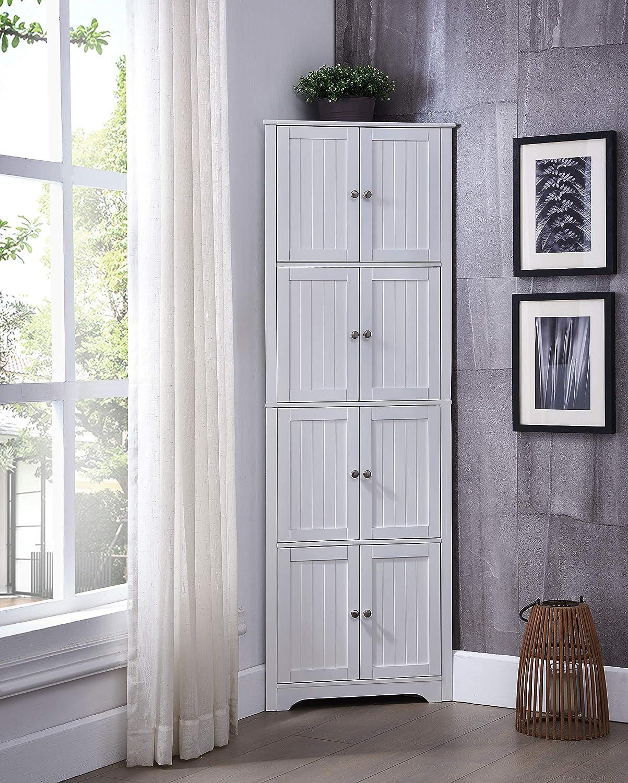 "Kings Brand Furniture - Lyons 4-Tier 68"" Corner Kitchen Pantry Storage Cabinet with 8 Doors, White"