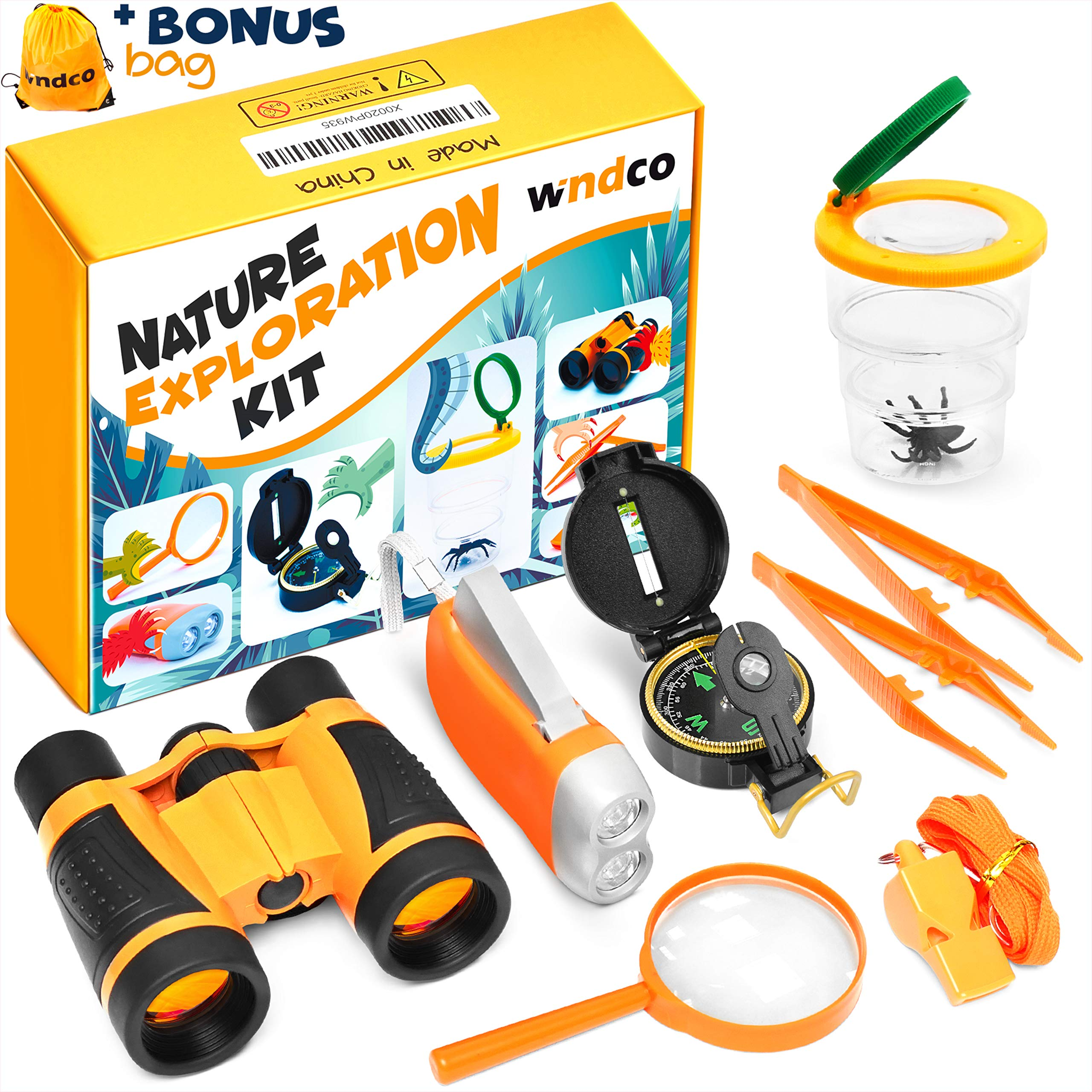 Windco Kids Explorer Kit - 10Pieces Kids Outdoor Kit - Boys Camping Kit with Compass and Binoculars - Kids Camping Gear - Kids Camping Set Adventure Kit for Girls and Boys - Outdoor Educational Toys by Windco
