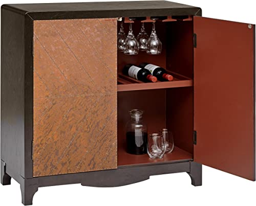 Pulaski Industrial Adjustable Shelf 2 Door Copper Sheet Wine Bar Cabinet