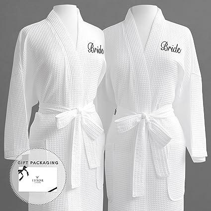 baa19d34a0 Same-Sex Couple s Waffle Weave Bathrobe Set 100% Egyptian Cotton-Unisex One