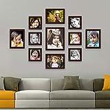 AJANTA ROYAL Synthetic Wood Individual Photo Frames - Set of 11 (6-5x5-inch, 4-6x8-inch, 1-8x10-Inch) Brown : A-92B