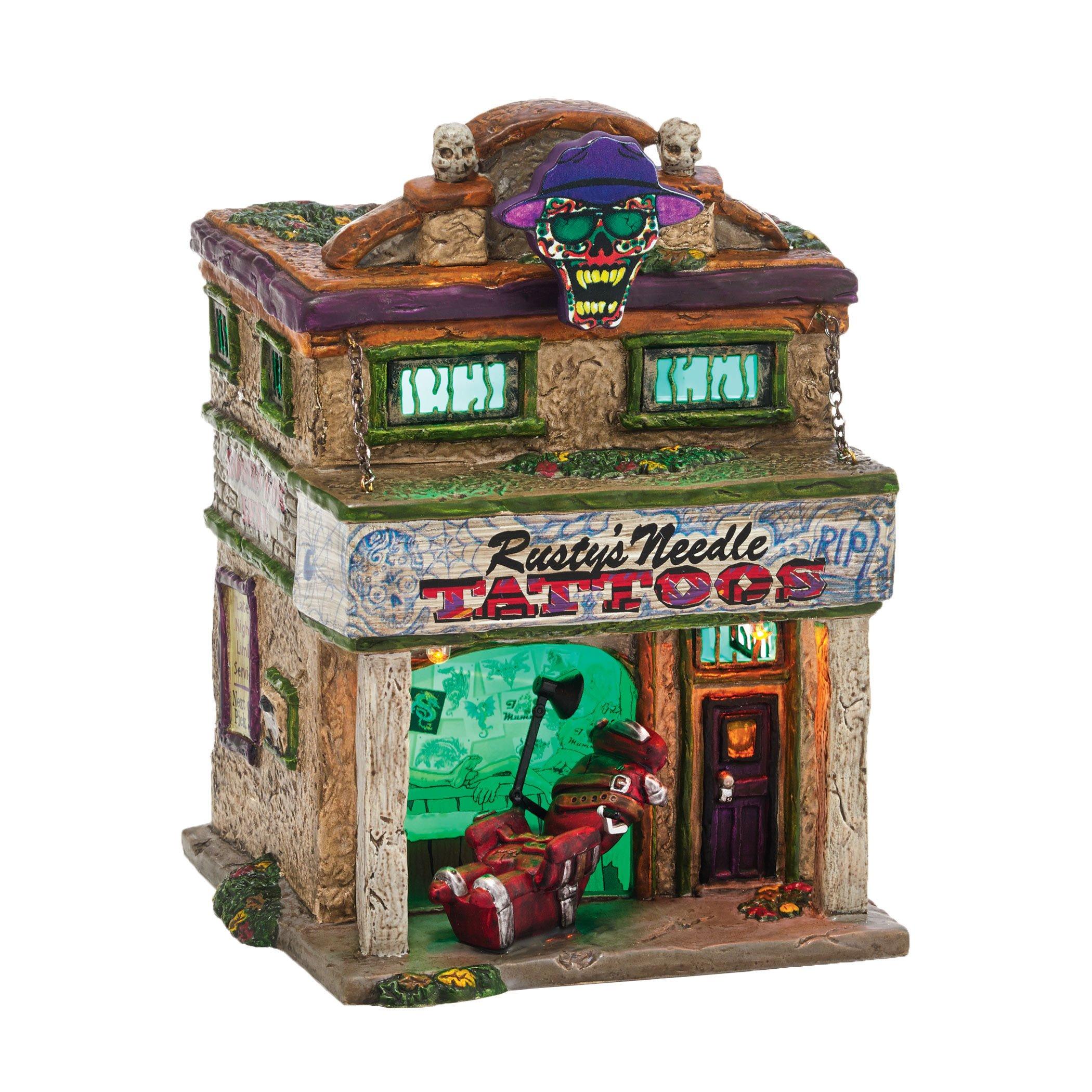 Department 56 Snow Village Halloween Rusty's Needle Lit House, 6.9 inch