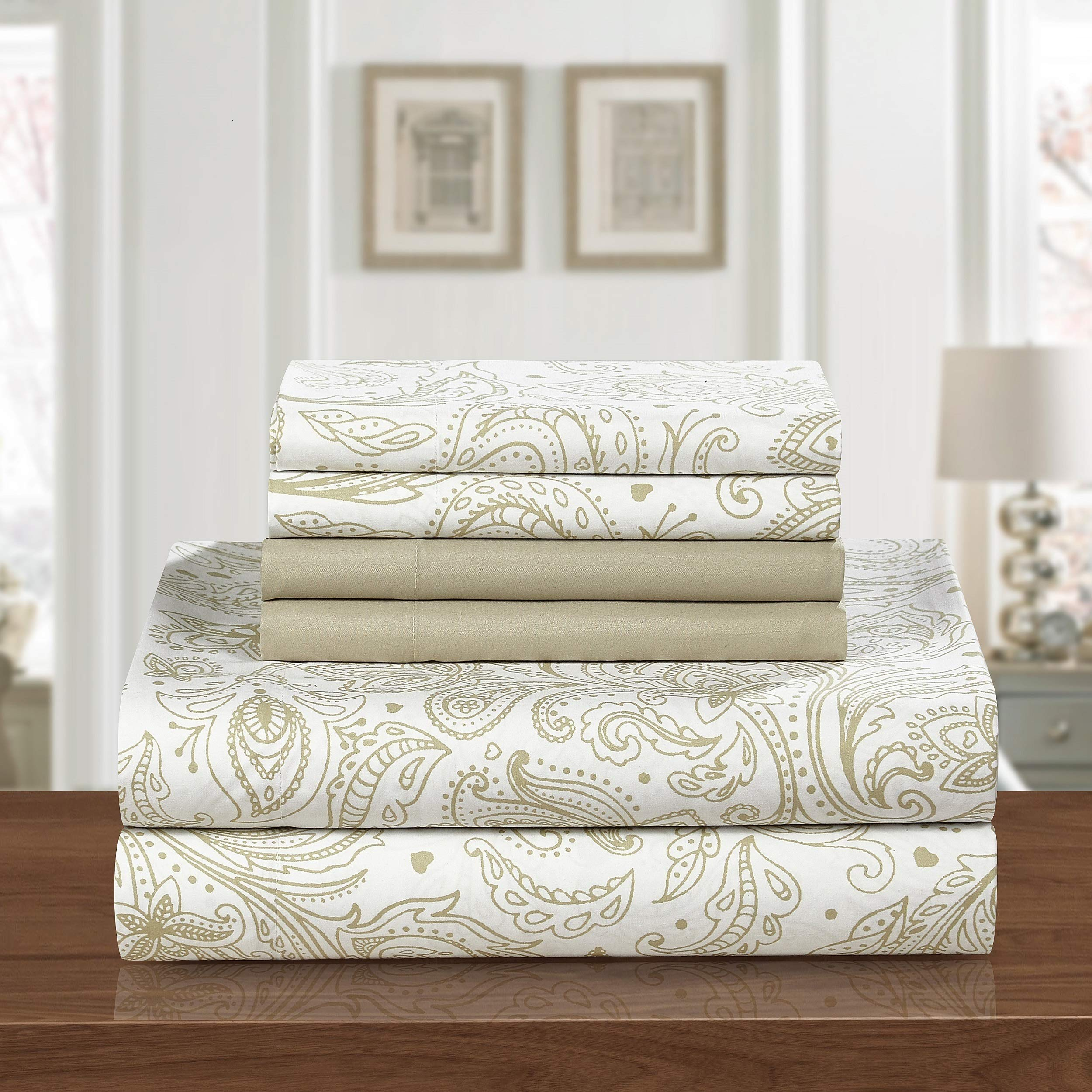 PH 6 Piece Queen Beige Brown Printed Sheet Set, Country & Vintage Style, Microfiber Material, Paisley Pattern Deep Pockets, Fully Elasticized Fitted, Machine Wash - Floral Print