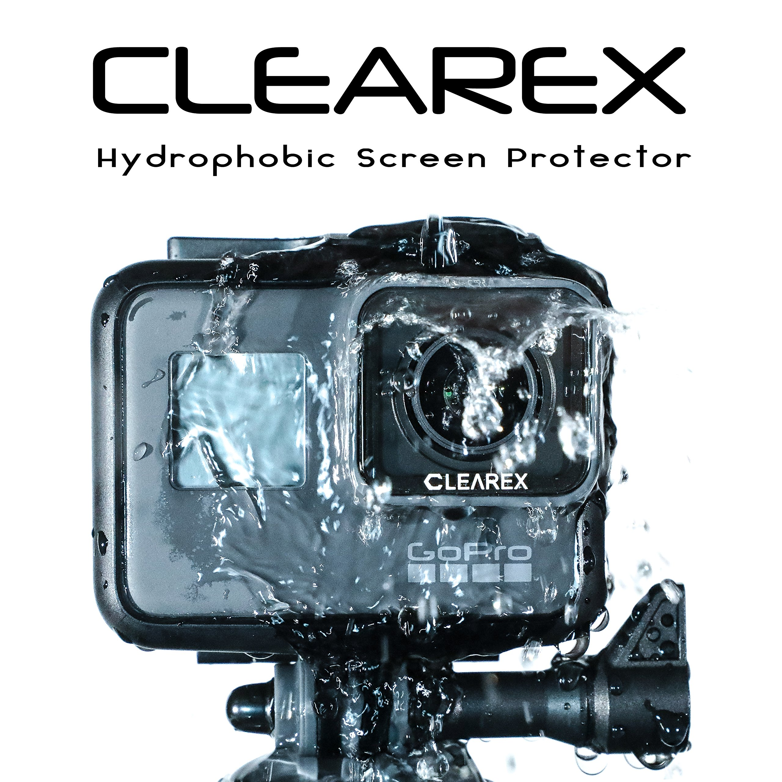 CLEAREX Hydrophobic Screen Protector for GoPro Hero 5, 6, 7 | Water Repellent, Tempered Glass, Ultra-Clear, Anti-Scratch | Capture Clearly (GoPro 5, 6, 7-Black) by Axion