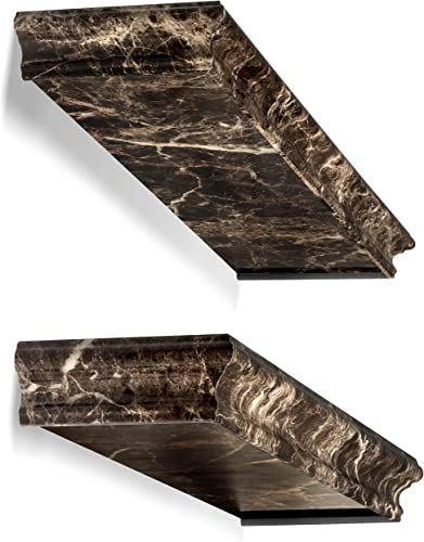Better Homes and Gardens Picture Ledge Set – Spruce Up Any Room with Elegant Floating Shelves – Easily Install Your Wall Shelves in Minutes – Exclusive Brown Marble Finish