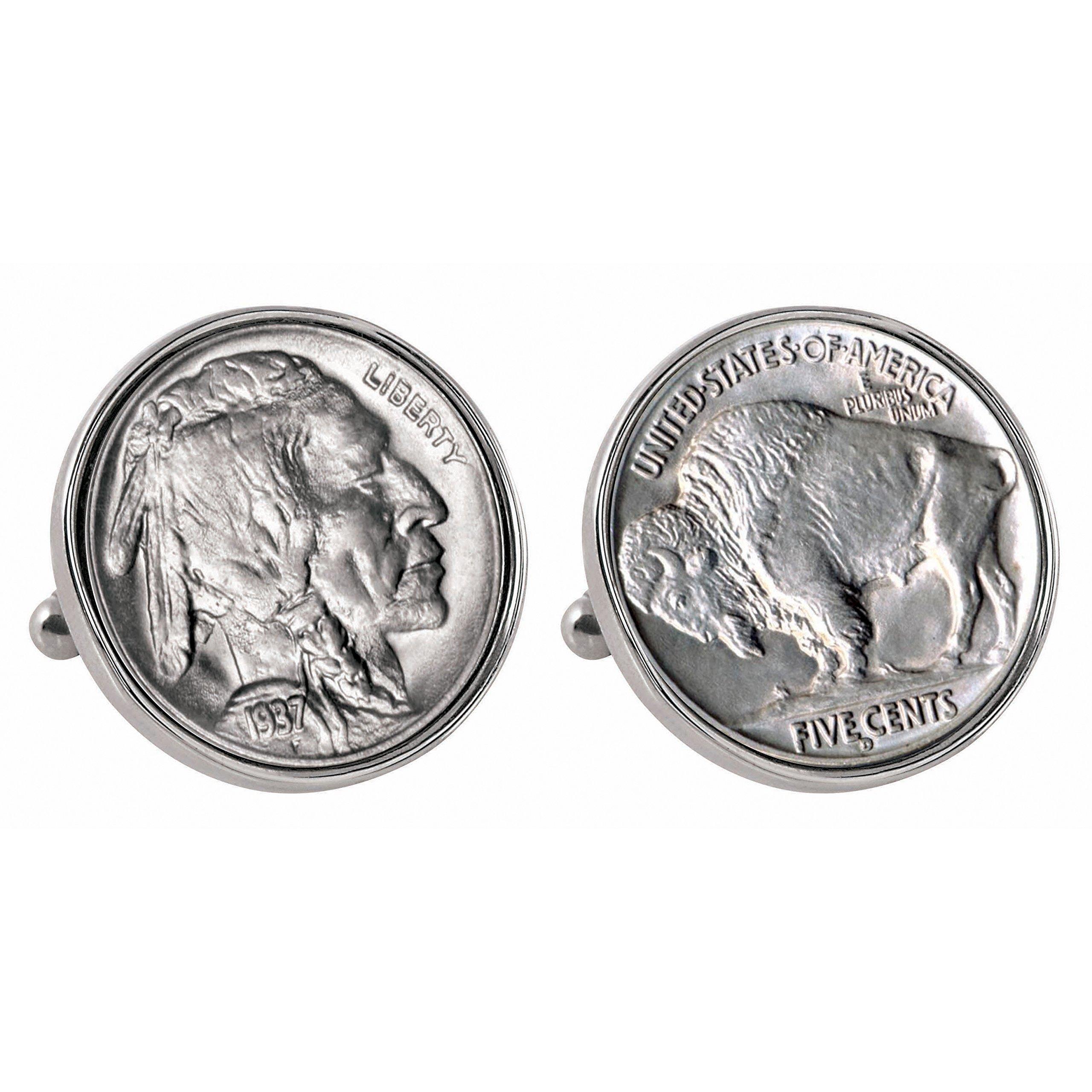 American Coin Treasures Buffalo Nickel Silvertone Bezel Cuff Links