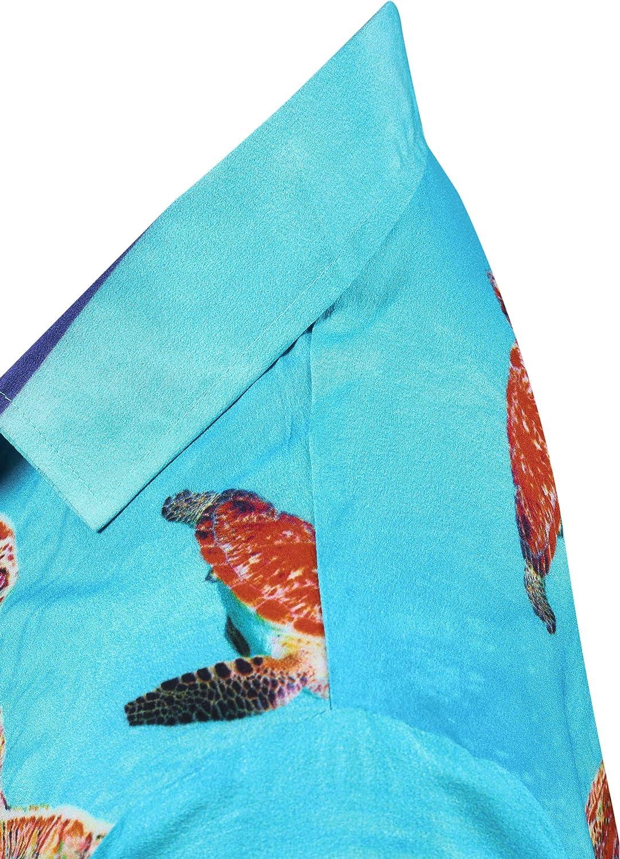 LA LEELA Mens Regular Fit Camp Hawaiian Shirt Button Down Up Swim Wear Printed