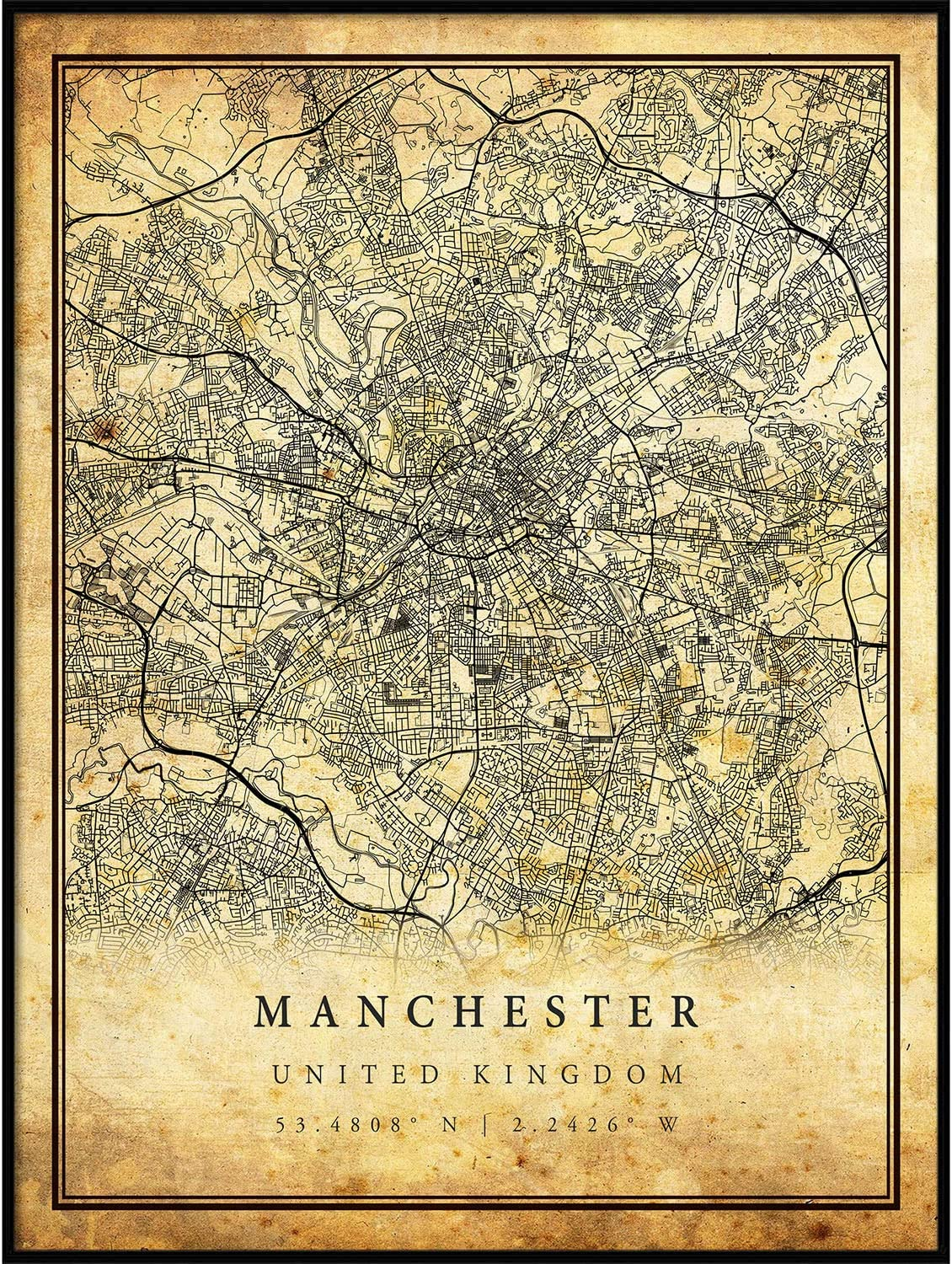 Manchester map Vintage Style Poster Print | Old City Artwork Prints | Antique Style Home Decor | United Kingdom Wall Art Gift | map walll Art 18x24
